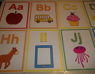 26 Laminated Colored Alphabet Posters.  8.5x11 classroom signs. Daycare Accessor