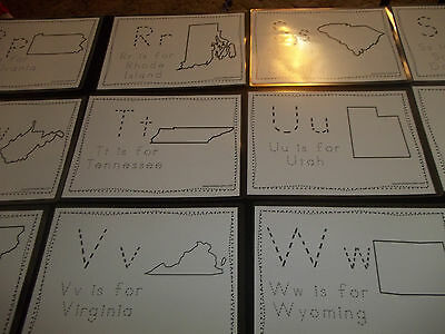 50 laminated States Phonics dry erase Writing and Tracing worksheets.  Geography