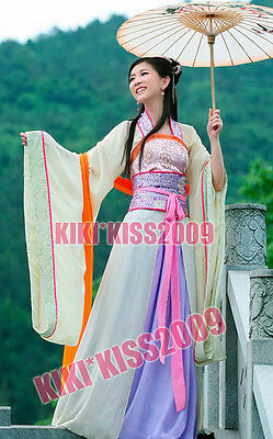 China Tang Dynasty Green Gream Floral Chiffon Dress Costume Made Chinese Han Fu