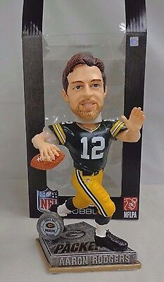 2015 NFL Aaron Rodgers #12 Springy Logo Player Bobble Head Forever Collectibles