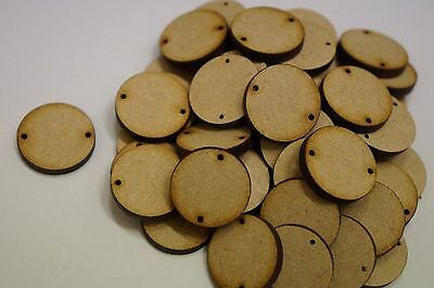 MDF WOOD CIRCLE SHAPES 3mm LASER CUT WOODEN SHAPE DECORATION WITH 2 TWO HOLES