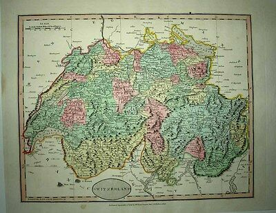 1812 John Cary - Robert Wilkinson - William Darton Map SWITZERLAND Fine Detail!
