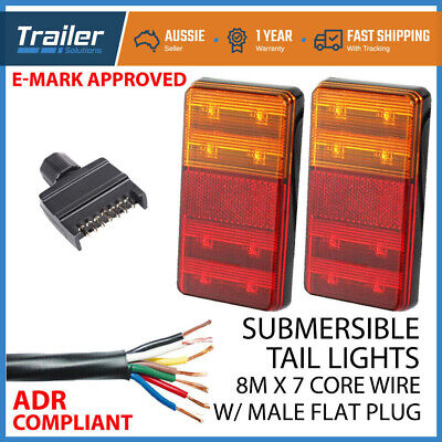 Pair Of Led Trailer Lights, 1 X Plug, 8M X 5 Core Wire Kit Complete Boat Light