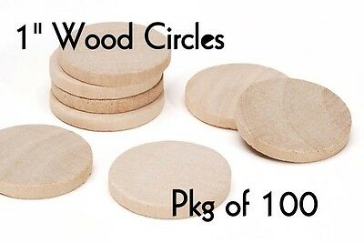 LOT of 100 ~ 1 Inch SOLID Wood Circle ~ Craft Disk ~ Pendants & Magnets ~ by PLD