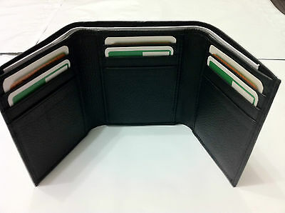 Mens 3-Fold Wallet w/ Credit Card Holder - Black (AE-18)