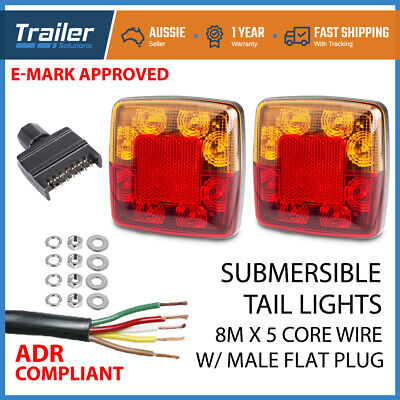 Pair Square Trailer Lights 1 X Plug, 8M X 5 Core Wire Kit Rewire Complete Boat