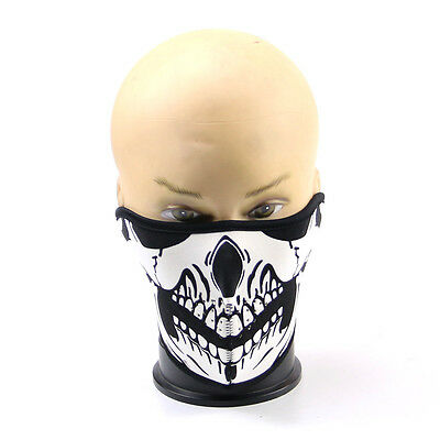 Skull HALF Face Reversible Biker Skateboard Motor Bike Scary Sports Mask Black