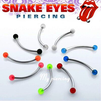 "16g,14g~9/16"", 5/8"" Steel with UV Ball Curved Barbell Tongue Snake-Eyes Piercing"