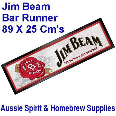 Brand New Jim Beam Rubber Backed Bar Runner Mat Home Bar 89 x 25 Cm's