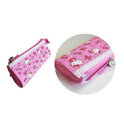 Sanrio Hello Kitty Flat Pouch Pencil Case Bag Zippered Cosmetic - PINK