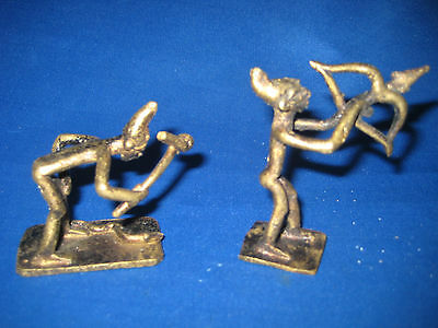 Lot of 2 Antique German Solid Brass Miniature Figures Very Collectible Nice