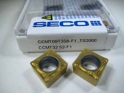 Lot ( 10 ) Seco Ccmt 32.52-F1 Lathe Turning Grooving Carbide Inserts Bore Tools