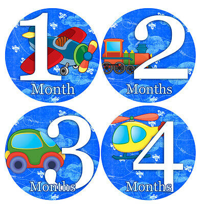 1 to 12 months Baby Monthly Stickers - Monthly Baby Stickers - AIRPLANES
