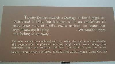 NEW Stamford CT Noelle SPA & Welness $20 coupon towards massage or facial