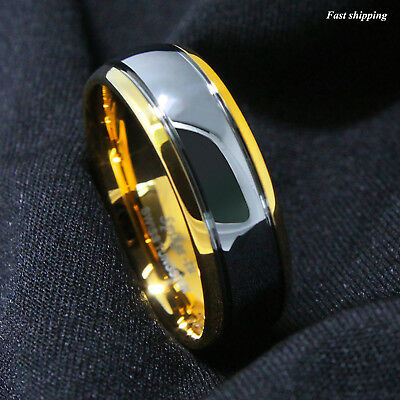 8/6mm Dome 18K Gold Mens Tungsten Ring Wedding Band Bridal Jewelry Size 6-13