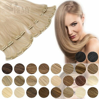 Clip In Extensions Set 45cm 60cm Clip On Haarteile 100% Indisches Remy Echthaar