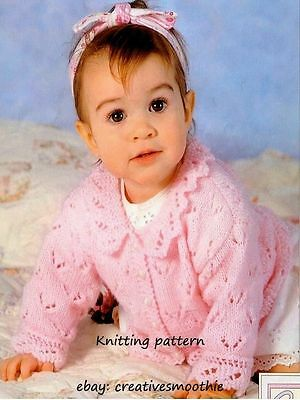 (108) DK Knitting Pattern for Baby Girls Lacy Cardigans & Sweater, 14-20''