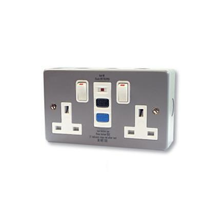 Europa Metal Clad 13a RCD Double Socket - RCD13AMC  -  30A Trip + Test + On/Off