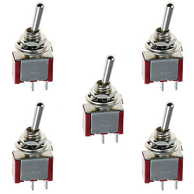 5 x On/Off Mini Miniature Toggle Switch Model Railway SPST