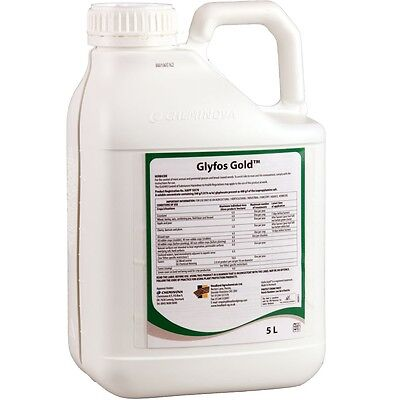 5lt  WEEDKILLER GLYPHOSATE GOLD ULTRA  EX VERY STRONG  PROFESSIONAL ROUND UP