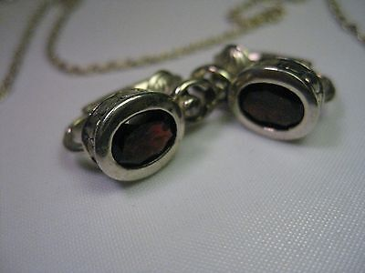 """Vintage Sterling Silver Red Stone Clip Earrings, 18"""" Necklace Set, 8.72g. ITALY"""
