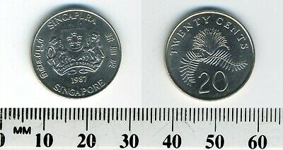 Singapore 1987 - 20 Cents Copper-Nickel Coin - Powder-puff plant