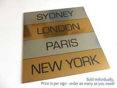 Engraved Single World Country City Clock Time Zone Sign Office Bar Restaurant