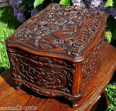 Antique Ornate Hand Carved Wood Jewelry Box With Cats