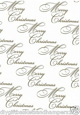 CHRISTMAS CELLOPHANE GOLD Merry Xmas writing Present Gift Wrap DIY Hamper film