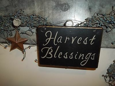 Wood Signs Harvest Blessings Fall Decor Vtg Prim Rustic Aged