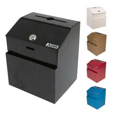 Wall Mountable Steel Suggestion Box W/ Lock Collection Box Multiple Colors,