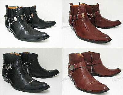 NIB Men's Western Cowboy Boots Slip On Winter Shoes Ankle Harness Strap, Sizes