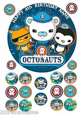 "Octonauts 7.5"" Round Edible Icing Birthday Cake Topper & 18 Cupcake Toppers /2"