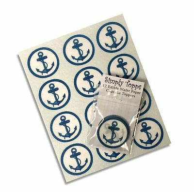 12 Anchor Cupcake Decoration Rice paper cake Toppers Sea Boat Nautical pre cut