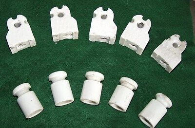 Knob and Tube porcelain Insulators 1900's collectable mixed lot of 10 -posts-