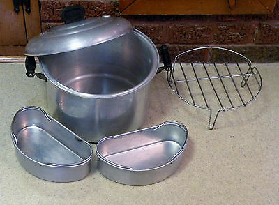 Vintage Mirro Aluminum Vapo-Seal Type Waterless Cookware -7 qt Stock Pot Steamer