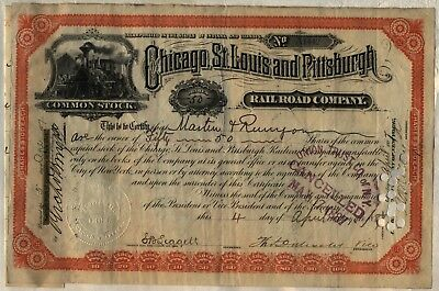 Chicago St. Louis & Pittsburgh Railroad Company Stock Certificate