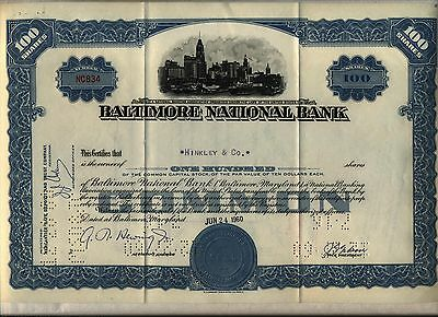 Baltimore National Bank Stock Certificate Maryland