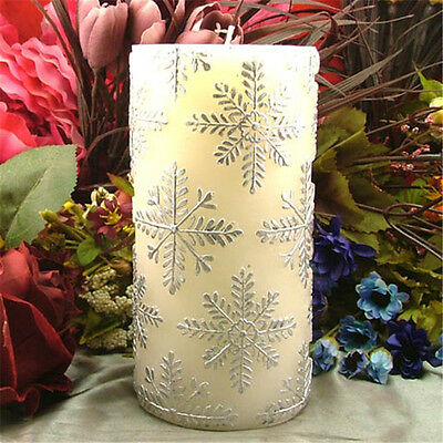 Cylinder Silicone Candle Mold Pillar Snowflake Soap Mould Decoration Tools Resin