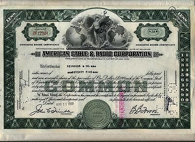 American Cable & Radio Corporation Stock Certificate
