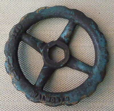 "Large 7"" Inch Cast Iron Water Valve Handle Industrial Art Steampunk"
