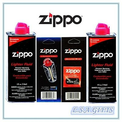Zippo 2 x 4oz Fuel Fluid and 1 Flint & 1 Wick Value Pack GIft Set Combo