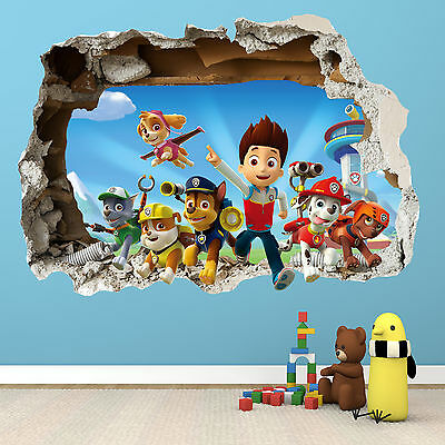 Paw Patrol Smashed Wall Sticker - 3D Bedroom Boys Girls Vinyl Wall Art Decal