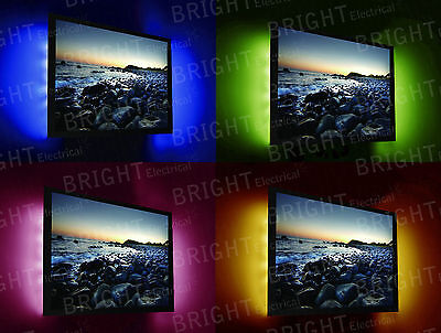 USB LED TV Backlight Strips 2x 0.5m RGB Colour Changing With Remote Control