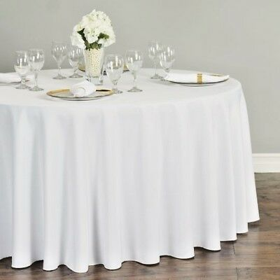 "10 Packs Round WHITE 120"" Inch Polyester Tablecloths 5ft Table Cover Quality USA"