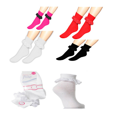 TOP LACED COTTON, WHITE,BLACK , MULTI COLORS GIRL ANKLE LACE SOCKS Size 0-0 /4-6