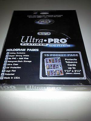 Ultra Pro 100 ct Lot 15 Pocket Tobacco Card Protective Pages NIP New Protector