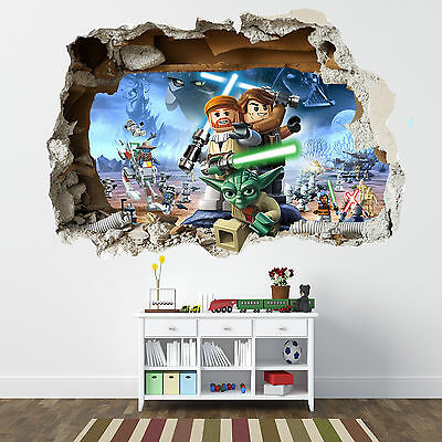 Lego Star Wars Smashed Wall Sticker - Bedroom Boys Girls Vinyl Wall Art