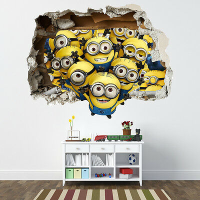 Despicable Me Minions Smashed Wall Sticker - Bedroom Boys Girls Vinyl Wall Art