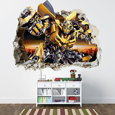 Transformers Smashed Wall Sticker - Bedroom Boys Bumblebee Vinyl Wall Art